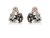 Jan Leslie Men's Three Wise Monkeys Cufflinks Silver