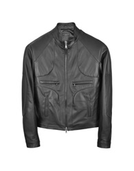 Forzieri Black Italian Leather Motorcycle Zip Jacket