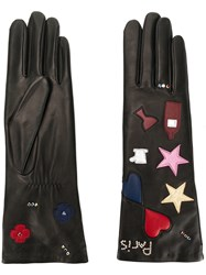 Agnelle Gloves With Embroidered Paris Icons Black