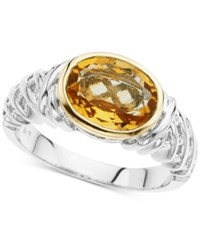 Macy's Citrine Statement Ring 2 1 3 Ct. T.W. In Sterling Silver And 14K Gold