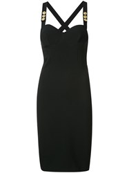 Balmain Pierre Cross Back Bustier Dress Black