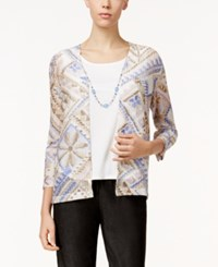 Alfred Dunner Printed Layered Look Necklace Top Perwinkle