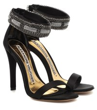 Alexandre Vauthier Nina Embellished Satin Sandals Black