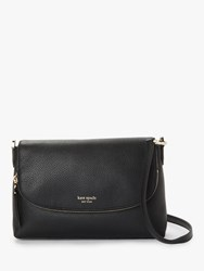 Kate Spade New York Polly Leather Large Flap Over Cross Body Bag Black