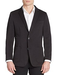 Saks Fifth Avenue Slim Fit Knit Two Button Jacket Black