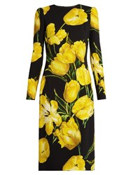 Dolce And Gabbana Tulip Print Long Sleeved Crepe Dress Black Print