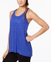 Gaiam Peace Space Dyed Keyhole Racerback Tank Top Royal Blue Heather