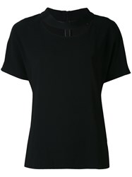Eleventy Cut Out Round Neck T Shirt Women Spandex Elastane Viscose 44 Black