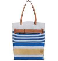 Loewe Leather And Suede Trimmed Striped Canvas Tote Bag Blue