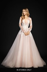 Hayley Paige Women's Winnie Long Sleeve Lace And Tulle Ballgown Rose