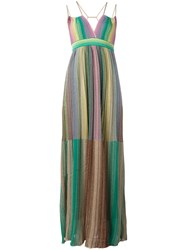 M Missoni Metallic Grey Pleated Maxi Dress