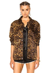 Alexander Wang Embroidered Patch Jacket In Animal Print Neutrals Animal Print Neutrals