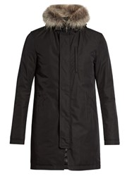 Herno Fur Trim Padded Cotton Blend Parka Black