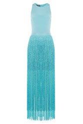 Tamara Mellon Silk Dress With Fringed Skirt Blue