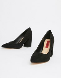 London Rebel Point Block Heels Black
