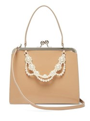 Simone Rocha Faux Pearl Trimmed Leather Bag Nude