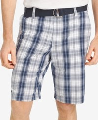 Izod Men's Shadow Plaid Shorts Midnight
