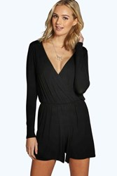 Boohoo Aveline Wrap Front Long Sleeve Playsuit Black
