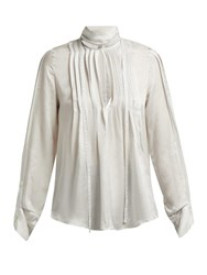 Ann Demeulemeester High Neck Pleated Front Blouse Ivory