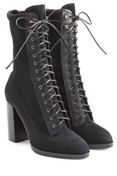 Sergio Rossi Lace Up Suede Boots Black