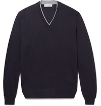 Canali Contrast Tipped Merino Wool Sweater Blue