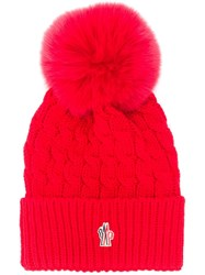Moncler Grenoble Logo Patch Bobble Hat Red