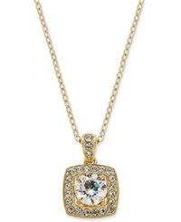 Eliot Danori 18K Gold Plated Crystal Square Pendant Necklace