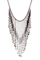 Stephan And Co Fringe Disc Statement Necklace Black