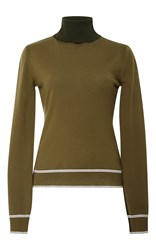 Carolina Herrera Long Sleeve Turtleneck Sweater Green