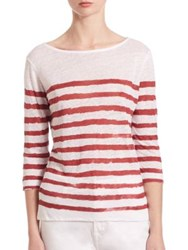 Saks Fifth Avenue X Majestic Filatures Striped Linen Boatneck Tee Blanc Electrique Blanc Grendadine