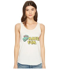 Rvca Have Fun Tank Vintage White T Shirt Beige