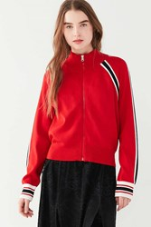 Urban Outfitters Uo Striped Track Jacket Sweater Red