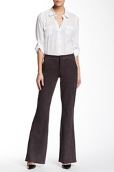 Level 99 Wide Leg Faux Suede Trouser Gray