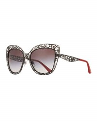 Dolce And Gabbana Flowers Lace Square Metal Sunglasses Gold