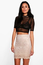 Boohoo Scalloped Lace Metallic Mini Skirt Gold