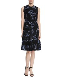Kate Spade Night Rose Ruffle Trim Velvet Dress Rich Navy