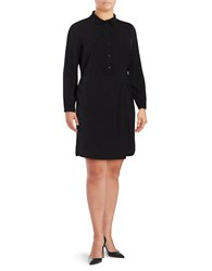 Junarose Button Front Shirtdress Black