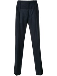 Gabriele Pasini Pinstripe Panel Tailored Trousers Cotton Polyester Viscose Wool Blue