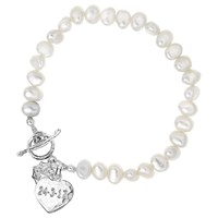 Dower And Hall Engravable Heart Pearl Bracelet White