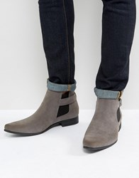 Asos Chelsea Boots In Gray Faux Suede With Strap Detail Gray
