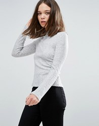 Only Ribbed High Neck Long Sleeved Tee Grey Melange