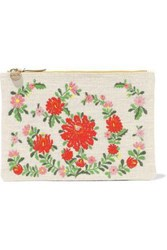 Clare V. Woman Embroidered Canvas And Pebbled Leather Clutch Cream
