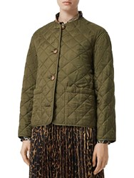Burberry Logo Print Quilted Nylon Jacket Green
