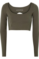 Live The Process Transcend Open Back Stretch Supplex Top Army Green