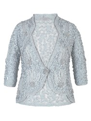 Chesca Lace Jacket With Cornelli Trim Blue