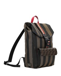 Fendi Pequin Striped Canvas Flap Top Backpack Brown
