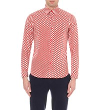 Burberry Slim Fit Polka Dot Print Cotton Shirt Bright Military Red