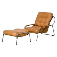 Maggiolina Lounge Chair And Ottoman Tan Leather