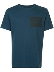 Kent And Curwen Rose Print T Shirt Blue