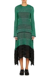 Proenza Schouler Women's Mixed Stitch Handkerchief Hem Dress Green
